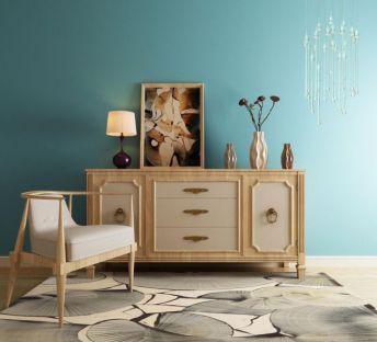 新中式实木装饰柜座椅组合