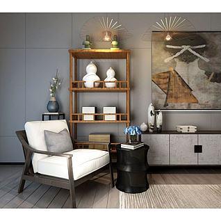 新中式椅子博古架组合3d模型3d模型