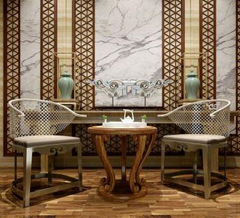 新中式椅子边几饰品组合