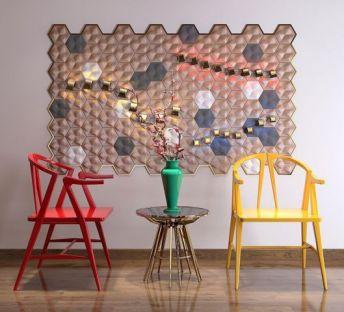 新中式椅子墙饰品组合