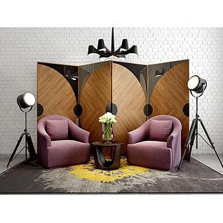 新装饰主义沙发屏风组合3d模型