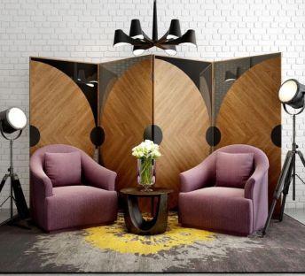 新装饰主义沙发屏风组合