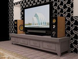 客厅音响电视墙3d模型