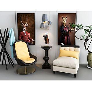 休息单椅衣架吊灯组合3d模型