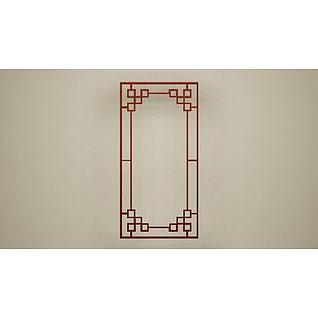 红色花格边框3d模型