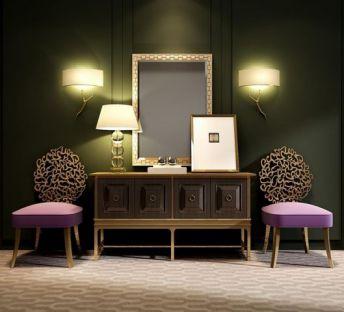 美式柜子椅子树枝壁灯组合