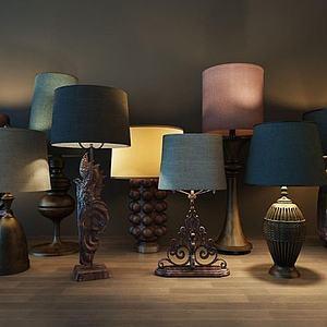 美式古典台灯模型