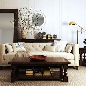 3d<font class='myIsRed'>美式沙发</font>茶几植物盆栽组合模型