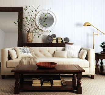 美式沙发茶几植物盆栽组合