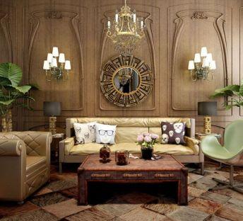 美式复古皮沙发茶几组合