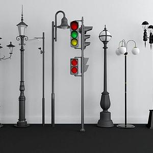 户外路灯红绿灯组合模型