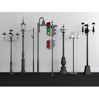 户外路灯红绿灯组合3d模型