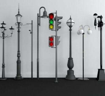 户外路灯红绿灯组合