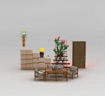 田园竹桌椅盆栽花架组合