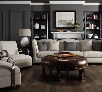 美式客厅沙发软包茶几组合