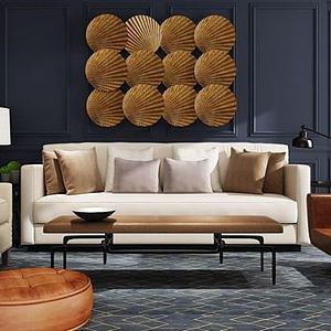 3d<font class='myIsRed'>美式沙发</font>茶几扇子墙饰品组合模型