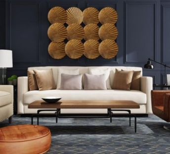 美式沙发茶几扇子墙饰品组合
