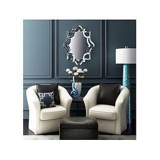 布艺沙发镜子墙饰组合3d模型