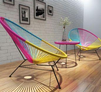 时尚彩虹色线条休闲椅