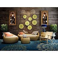 泰式藤制沙发组合3D模型3d模型