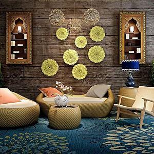 3d泰式藤制沙发组合模型