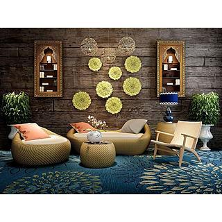 泰式藤制沙发组合3d模型