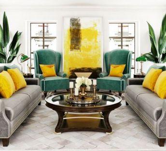 美式沙发茶几室内植物组合