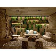 休闲沙发茶几绿植墙3D模型3d模型