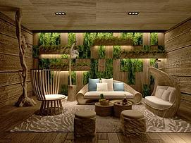 休闲沙发茶几绿植墙3d模型