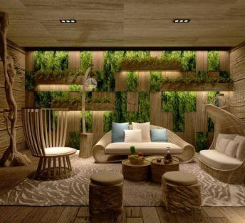 休闲沙发茶几绿植墙