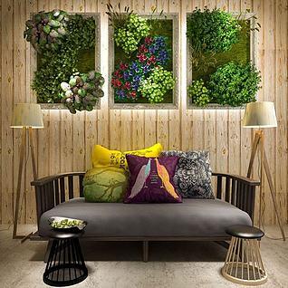 休闲长沙发椅植物墙组合3d模型