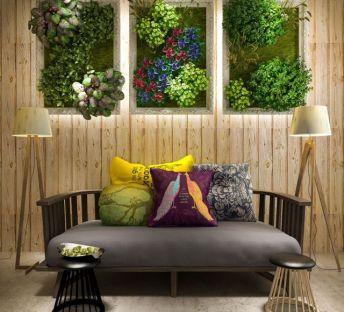 休闲长沙发椅植物墙组合