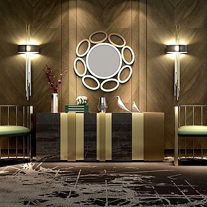 低調奢華柜子壁燈單椅組合模型3d模型