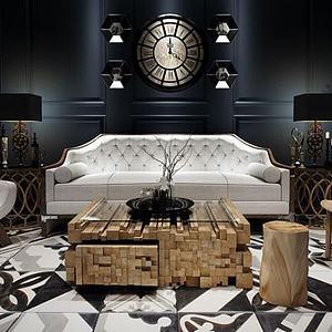 3d休閑沙發單椅茶幾組合模型