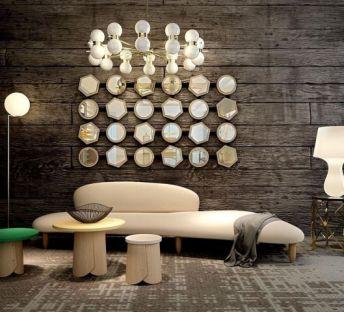 异形沙发角几镜子墙组合