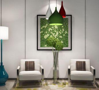 休闲椅子植物立体画组合