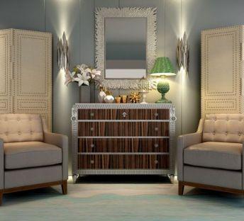 舒适沙发椅玄关柜组合