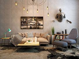 北欧沙发茶几超酷墙饰品组合3d模型