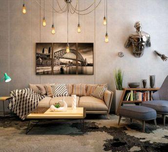 北欧沙发茶几超酷墙饰品组合