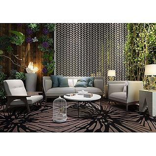 休闲沙发椅绿化墙组合3d模型
