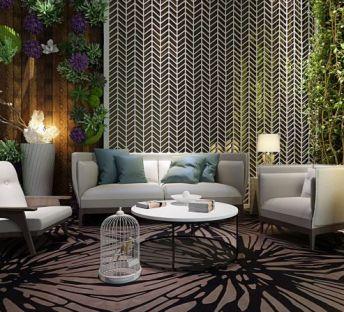 休闲沙发椅绿化墙组合