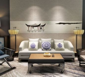 新中式禅意沙发壁画组合
