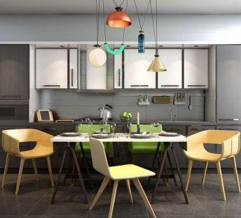 简约木制开放式厨房餐桌椅