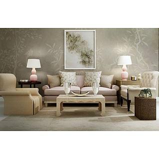 法式浪漫沙发茶几组合3d模型