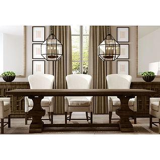 美式餐桌椅吊灯组合3d模型3d模型