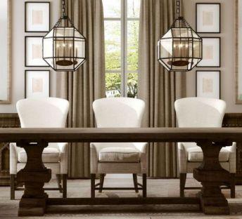 美式餐桌椅吊灯组合