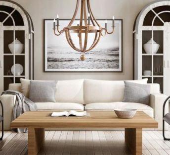 美式木质吊灯沙发茶几组合