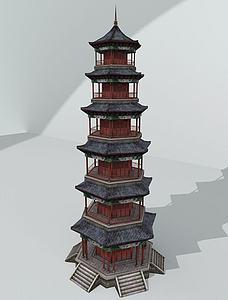 中式塔建筑模型3d模型