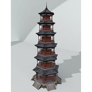 中式塔建筑3d模型