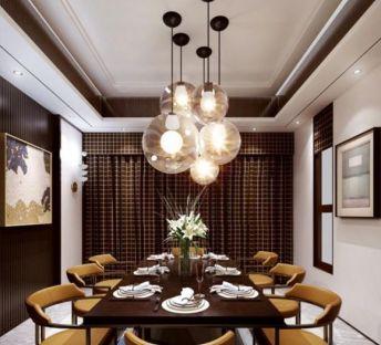 现代吊灯餐桌椅组合